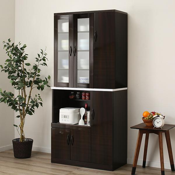 食器棚セット(ブリエ NLD9080/NBRE9080 DBR) ニトリ 【玄関先迄納品】 【1年保証】