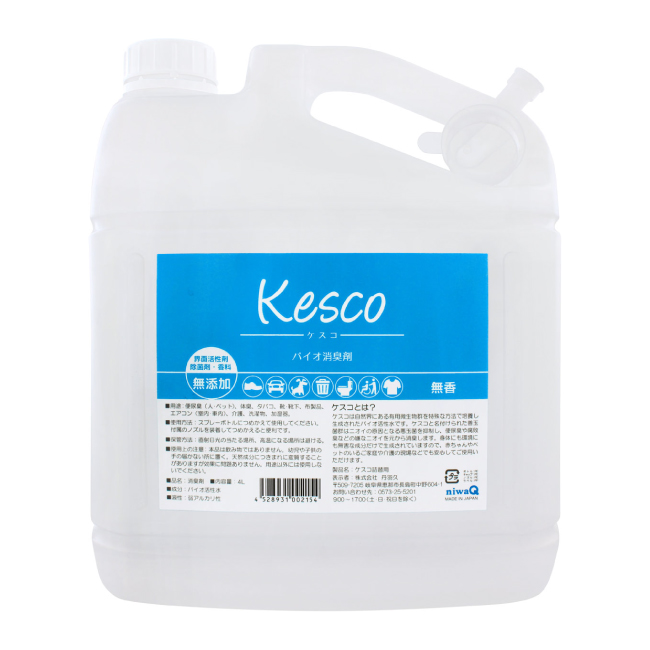 ショッピング 従来の消臭剤で効果の薄かった腐敗 アンモニア系の臭いをバイオのチカラで分解 消臭 洗剤の香料等の香りはそのまま 嫌なニオイだけを消します 身体にも地球にも安全です 特大 業務用4L KESCO ケスコ バイオ消臭剤 スプレー つめかえ用 ミストタイプ 天然成分 無香料 NEW ARRIVAL タバコ 4L 消臭スプレー 無添加 介護 丹羽久 靴 ゴミ箱 詰め替え