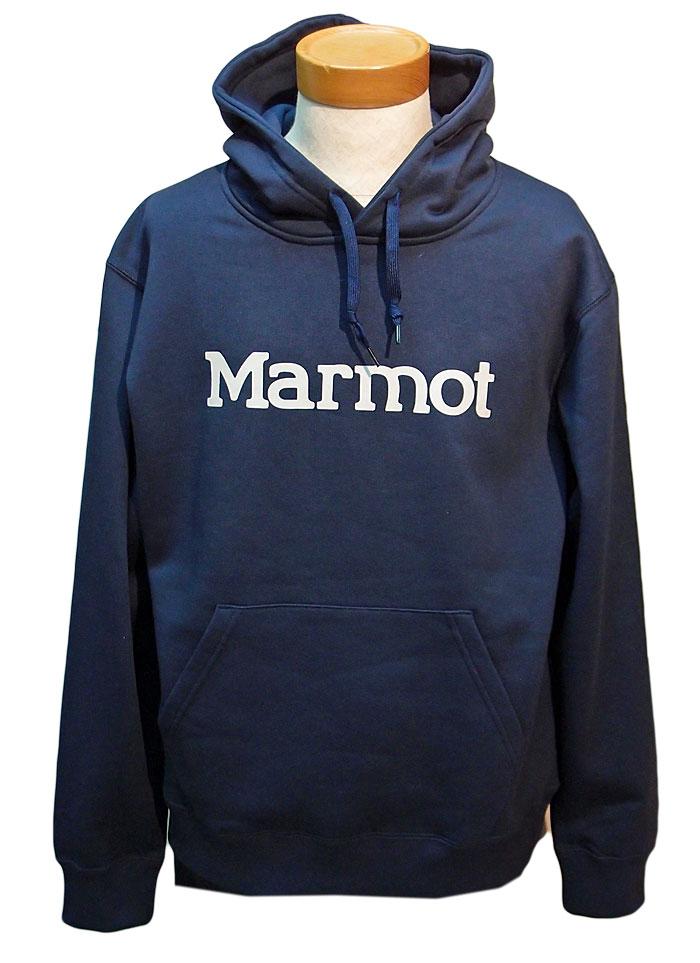 マーモット ロゴ スウェットパーカ 裏起毛 メンズ ネイビー TOMOJB69CH ANV M L XL Marmot 男性 防寒 ウェア 国内正規品
