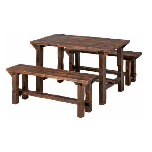焼杉 BBQテーブル&ベンチセット [F-577]【あす楽対応不可】【全品送料無料】ガーデンテーブル ガーデンファニチャ garden・furniture