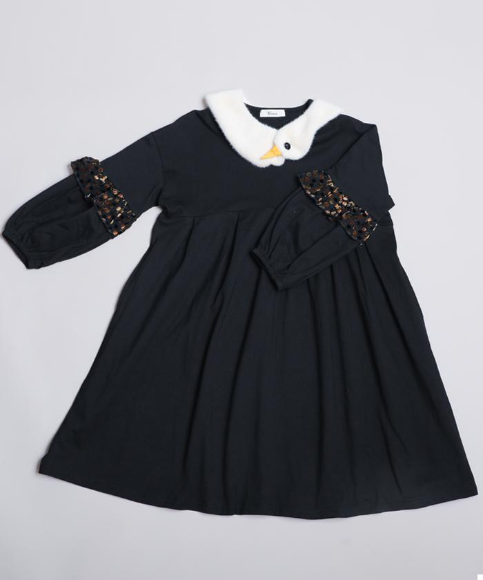 UNICA ユニカ 新品 ワンピース 発売モデル スワン付け衿ワンピース S~M