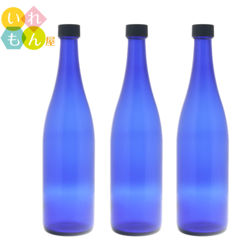 噂のブルーボトル ロングS720ブルーびん 3本入キャップ付 ブルーボトル 代引き不可 酒瓶 飲料瓶 ジュース瓶 ガラス瓶 ガラス保存容器 焼酎びん 一部予約 ワイン瓶 スタイリッシュ ブルー瓶 かわいい ワインボトル ブルーソーラーウォーター かっこいい オシャレ おしゃれ 硝子瓶 可愛い