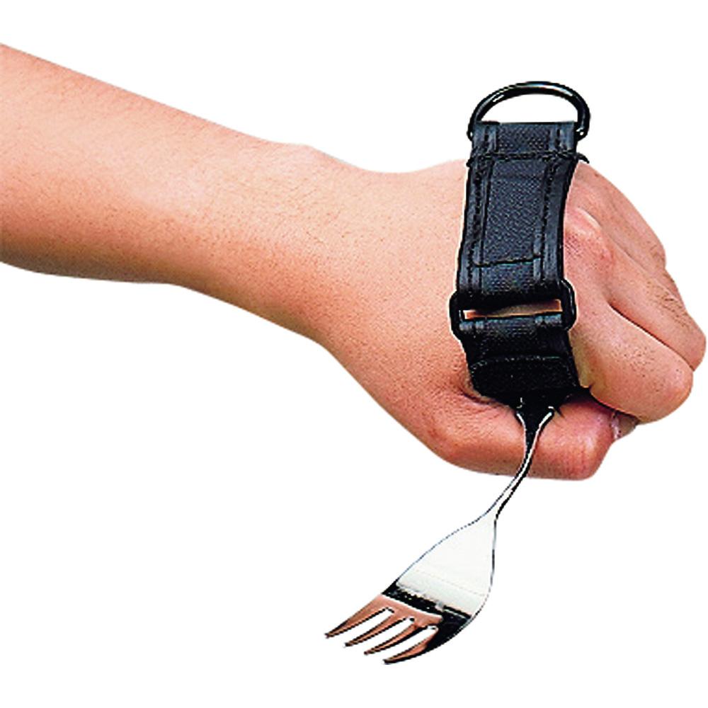 握力の弱い方や手指が曲がらない方におすすめ スプーン フォーク以外にも歯ブラシなどにも使えるまさに万能ホルダー部は平らな革タイプ 低価格 フセ企画 万能カフ 革製 H-1 食事介護 フォーク補助 介護用品 実物 食事用固定バンド 自助具 便利