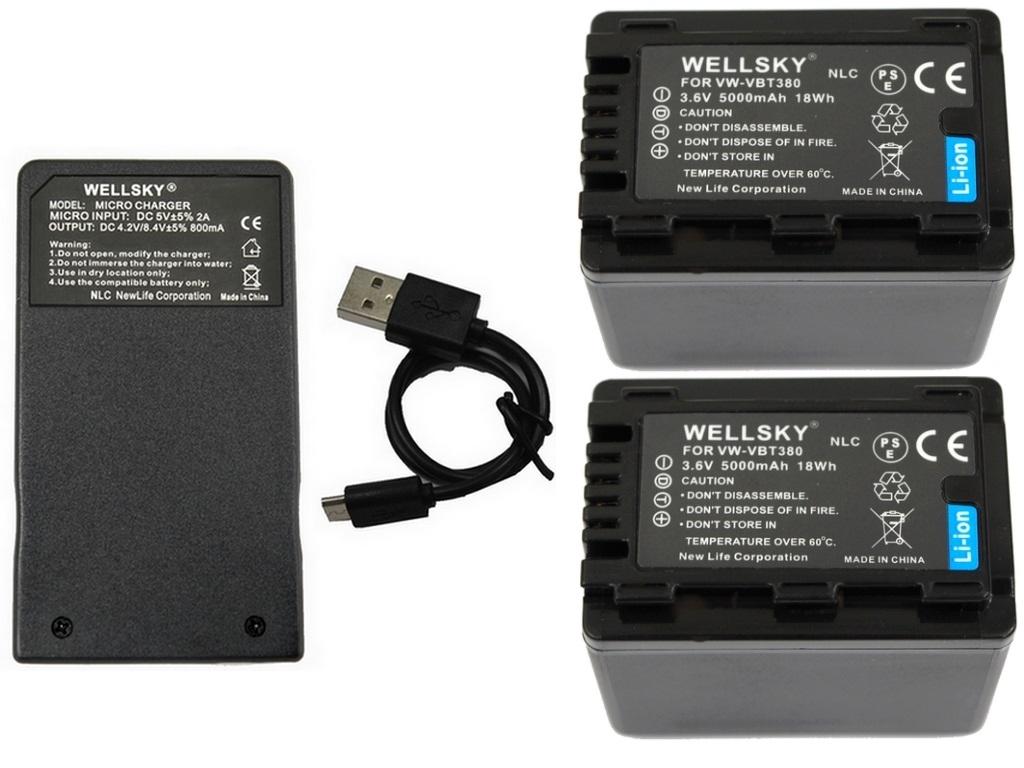 送料無料 あす楽対応 VW-VBT380 VW-VBT380-K 互換バッテリー 5000mAh 2個 & [ 超軽量 ] USB Type-C 急速 互換充電器 バッテリーチャージャー VW-BC10 VW-BC10-K 1個 [ 3点セット ] [ 純正品と同じよう使用可能 残量表示可能 ] Panasonic パナソニック HC-VX2M HC-VZX2M HC-W590M HC-WZ590M