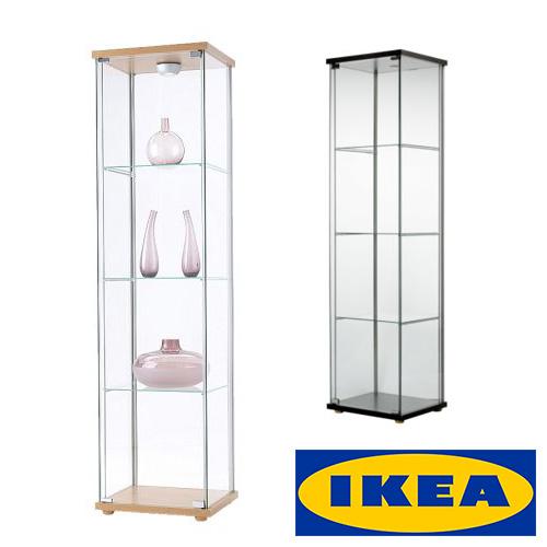 IKEA DETOLF ガラス扉 キャビネット コレクション ディスプレイイケア デトルフ ガラス 棚 43x37x163cm ブラックブラウン バーチ調リビング フィギュア グラスウェア ライトアップ【smtb-ms】90182171 70182172