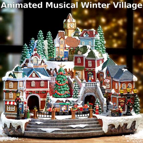 CHRISTMAS Animated Musical Winter Villageクリスマス ウィンター ビレッジ ライトアップメロディー 8曲付き イルミネーション飾り 装飾品 トレイン 列車【smtb-ms】0593233