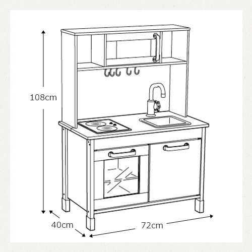 IKEA DUKTIG playing house kitchen IKEA doek tyg mini-kitchen playing house  height adjustment role playing kitchen Birch materials plywood white ...