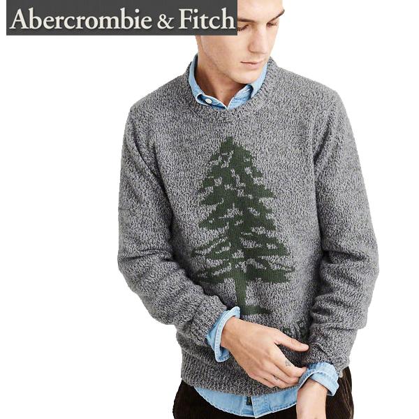 Abercrombie & Fitchアバクロンビーアンドフィッチ正規品メンズセーター ニット ロゴHeritage Logo Sweaterグレー120-201-1537-120インポートブランド海外買い付け正規