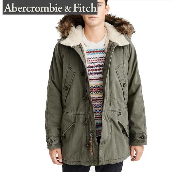 Abercrombie&Fitch アバクロンビーアンドフィッチ正規品メンズアウター モッズコート ミリタリージャケット ファー付きオリーブMens Sherpa-Lined Cotton Parka Coats Jackets 132-327-0607-330インポートブランド海外買い付け正規
