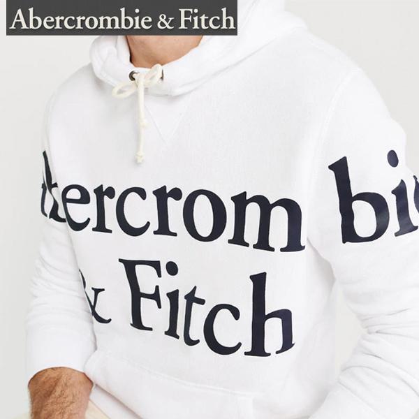 Abercrombie & Fitchアバクロンビーアンドフィッチ正規品メンズプルオーバーパーカーフード白ホワイト ビックロゴプリント122-231-0119-100並行輸入インポートブランド海外買い付け正規