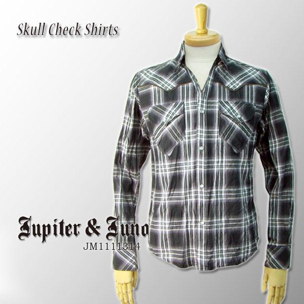 Jupiter&Juno ジュピターアンドジュノSkull Check Shirts(スカルチェックシャツ)※※※