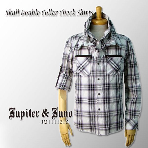 Jupiter&Juno ジュピターアンドジュノSkull Double Collar Check Shirts(スカル2重襟チェックシャツ)※※※
