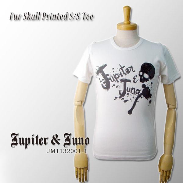メール便可Jupiter&Juno(ジュピターアンドジュノ)Fur Skull Printed Short Sleeve Tee(ファー スカル 半袖 Tシャツ)