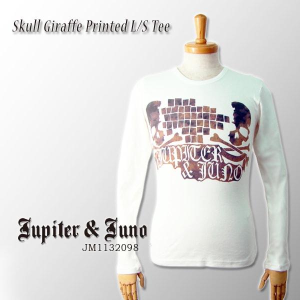 メール便可Jupiter&Juno(ジュピターアンドジュノ)Skull Giraffe Printed Long Sleeve Tee(スカル ジラフ柄 長袖 Tシャツ)
