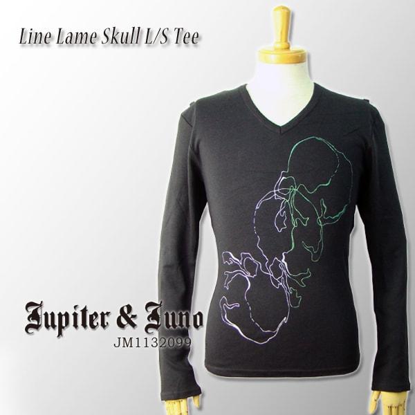 メール便可Jupiter&Juno(ジュピターアンドジュノ)Line Lame Skull Long Sleeve Tee(ライン ラメ スカル 長袖 Tシャツ)