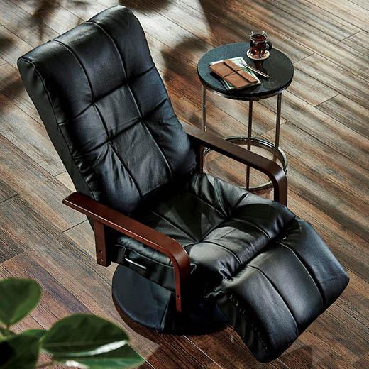 椅子 チェア リクライニング 回転 ハイバック フットレスト 本革 一人掛け 1人掛け 本革フットレスト付リクライニング回転チェア ベルーナ ノアン インテリア
