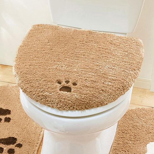洗浄暖房用フタカバー トイレふたカバー トイレカバー トイレ用品 かわいい 可愛い ベージュ ブラウン 犬 わんちゃん パグとプードルのトイレマットシリーズ ベルーナ ノアン インテリア