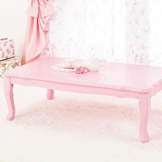 テーブル 折りたたみ 猫脚 姫系 プリンセス ピンク ホワイト 白 ローテーブル リビングテーブル 長方形 幅100 座卓 折れ脚式プリンセス猫脚テーブル ベルーナ ノアン インテリア