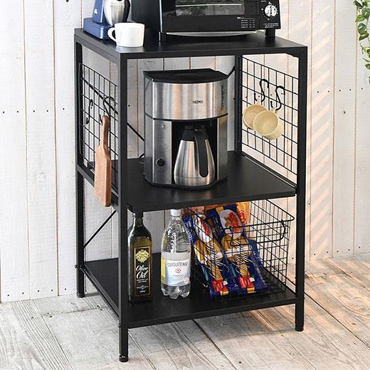 キッチンラック 棚 ラック ロータイプ スライド キッチン収納 おしゃれなモノトーン頑丈キッチンラック ベルーナ ノアン インテリア