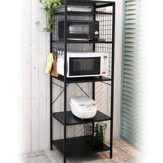 キッチンラック 棚 ラック ハイタイプ スライド 可動棚 キッチン収納 おしゃれなモノトーン頑丈キッチンラック ベルーナ ノアン インテリア