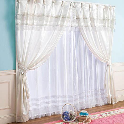 幅100×丈178 カーテン 4枚組 4枚セット ドレープカーテン カーテンセット レースカーテン付 姫系 プリンセス 姫 フリル 可愛い かわいい 洗える ホワイト 白 プリンセス2段フリルカーテンセット ベルーナ ノアン インテリア