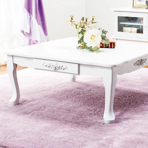 テーブル 折りたたみ 折れ脚 猫脚 姫系 プリンセス 姫 ローテーブル リビングテーブル 座卓 長方形(小) 引き出し付き ホワイト ローズ 薔薇 かわいい 可愛い ピュアホワイト折れ脚猫脚テーブル ノアン インテリア