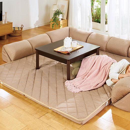 <新商品> ゆったり・まったりクッション一体型ラグ<クッション付ラグ><こたつ敷布団としても>/50mm厚U字型大/インテリア・寝具・収納/カーペット・マット・畳/カーペット・ラグ/角型