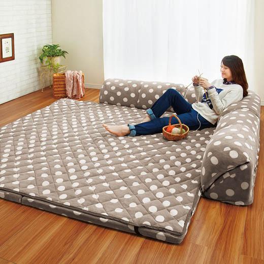 ゆったり・まったりクッション付ごろ寝ができるラグ/厚さ15mm L字型大/インテリア・寝具・収納/カーペット・マット・畳/カーペット・ラグ/角型 ノアン インテリア ベルーナ
