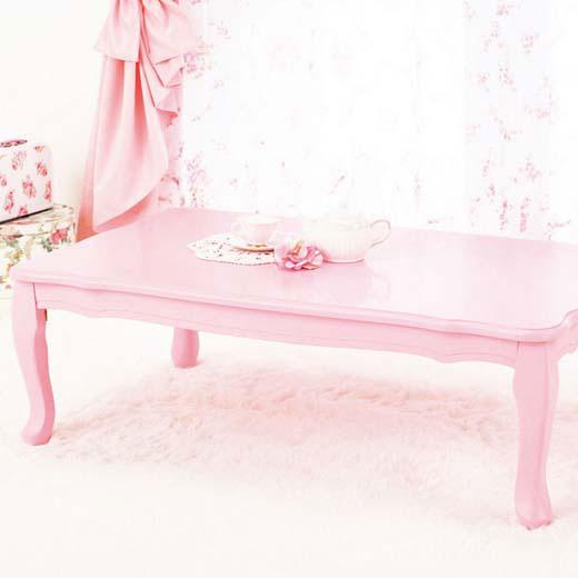 折れ脚式プリンセス猫脚テーブル<姫系・ラブロマ>/長方形・小/インテリア・寝具・収納/テーブル/座卓