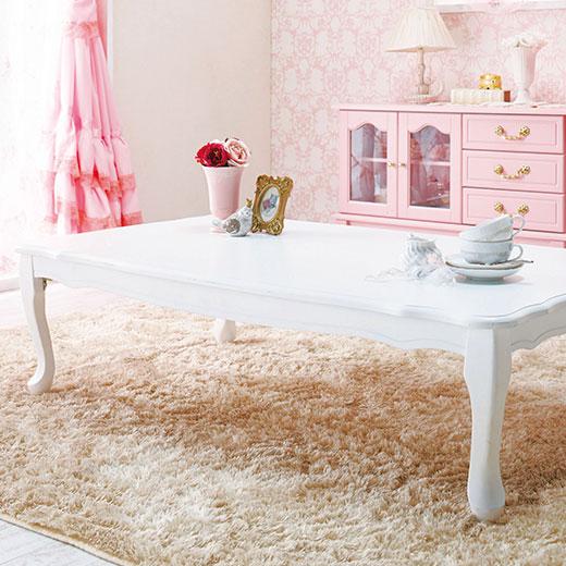 折れ脚式プリンセス猫脚テーブル<姫系・ラブロマ>/長方形 幅120cm/インテリア・寝具・収納/テーブル/座卓