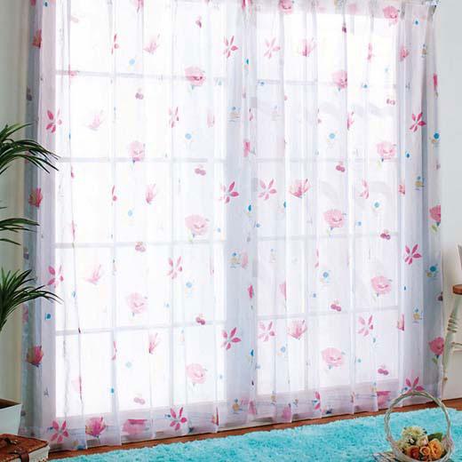 カラフルフラワーレースカーテン<姫系>/約幅100×丈133cm/インテリア/カーテン