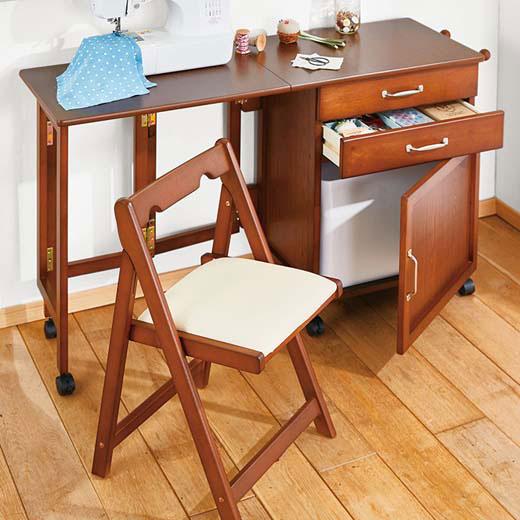 折りたためるデスク・チェア/幅120cmデスク+チェアセット/机 椅子 テーブル セット デスク 省スペース PCデスク デスク 折りたたみ ワークデスク 学習机 おしゃれ アンティーク調 ヴィンテージ調 テレワーク 在宅ベルーナ