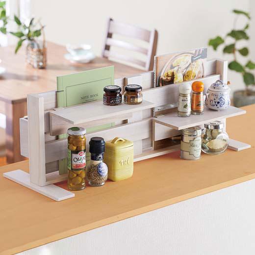 カウンター上目隠しラック/インテリア・寝具・収納 収納家具 キッチン収納 食器棚・キッチンボード