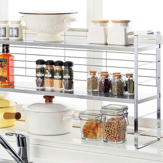 出窓で使える2段シェルフ/幅74cm/インテリア・寝具・収納 収納家具 キッチン収納 食器棚・キッチンボード