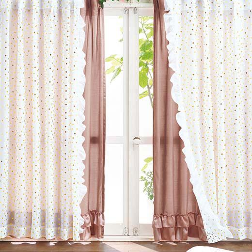 プリンセスファンタジーカーテン4枚組<姫系・ラブロマ>/約幅100×丈200cm/インテリア・寝具・収納 カーテン・ブラインド ドレープカーテン