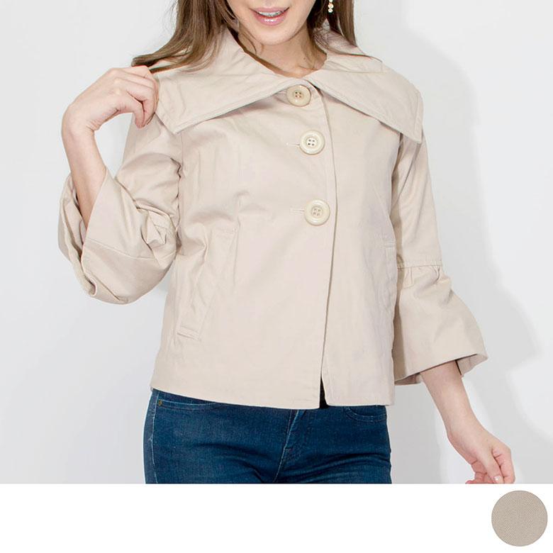 デイリーウェアとして お出かけにもGood 大きな襟がフェミニンなショートブルゾン コート ジャケット Aライン L 4年保証 M 100%品質保証! レディースカジュアル ベージュ フォーマル