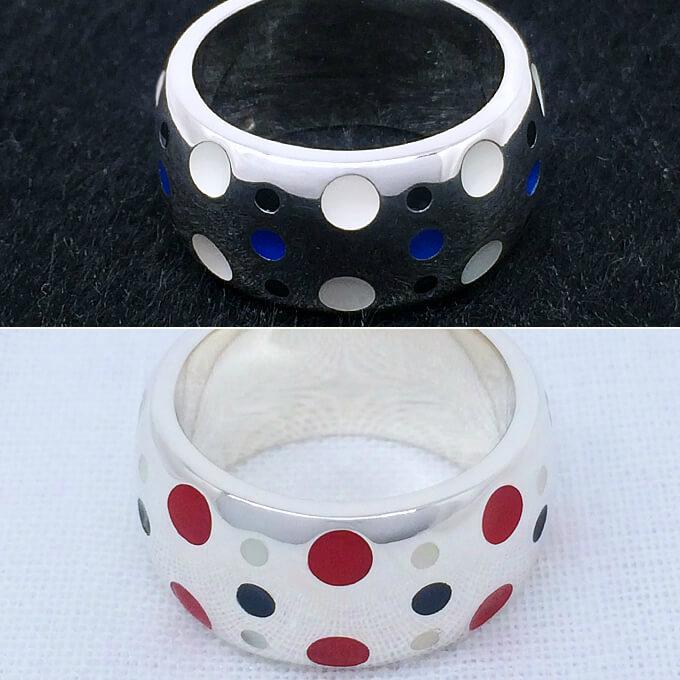 ポップで可愛いシルバー+レジンのペアリング 組み合わせ自由 カラフル カスタム シルバーリング 可愛い ドット 男性 女性 プレゼント 誕生日 クリスマス 指輪 ペアリング 3~30号 0.5号刻みで製作可能 大きいサイズ