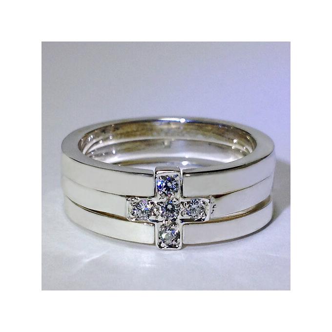 クロスモチーフ+切れリングの3連 シルバーリング シンプル きれいめ 個性的 大きいサイズ 3連リング シルバーアクセサリー 男性 女性 プレゼント 誕生日 クリスマス 記念日 指輪 3~30号 0.5号刻みで製作可能