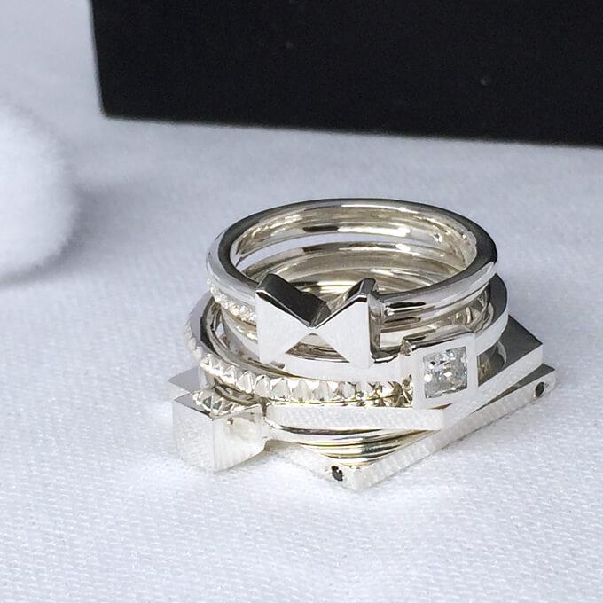 華奢リングの7連(7本セット) 大きいサイズ 3~25号 0.5号刻み可能 サイズ違い可能 シルバーリング レディース 指輪 おしゃれ 6連 5連 4連 3連 2連 レディース 女性 プレゼント