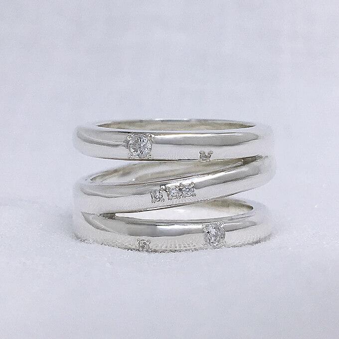 オリオン座3連リング(クリア星) シルバーリング おしゃれ 可愛い 指輪 大きいサイズ 星座 個性的 ペアリング レディース プレゼント 5~25号 0.5号刻み可能