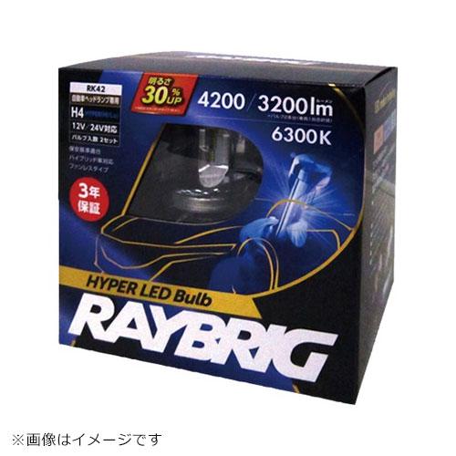 [RK41] RAYBRIG H4ヘッドライトLED 21/21W 3200/2400ルーメン 6300K 2個 1台分 ヘドライト LED バルブ レイブリック