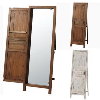 アンティーク調 スタンドミラー 全身 姿見 アクセサリー 収納 扉付き おしゃれ 全身鏡 木製  かわいい