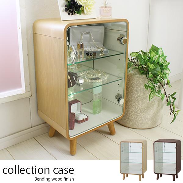ガラス コレクションケース 【送料無料】 小さい ディスプレイケース ショーケース ガラスキャビネット 木製 コレクションラック 卓上 激安 安い 背面ミラー付き おしゃれ