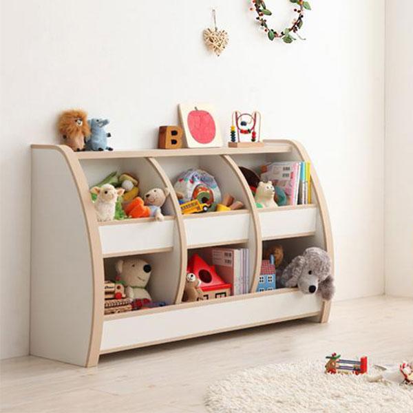すべての角にやわらか素材♪ おもちゃラック レギュラー 【送料無料】 ホワイト ブラウン おもちゃ収納棚 トイボックス 安い 日本製 安全