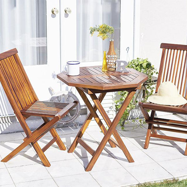 高級ホテルでも採用♪ ガーデン テーブル チェア セット 3点 (八角形テーブル&肘無しチェア2脚)【送料無料】 折りたたみ ガーデンテーブルセット 天然木 チーク材 庭 おしゃれ 安い
