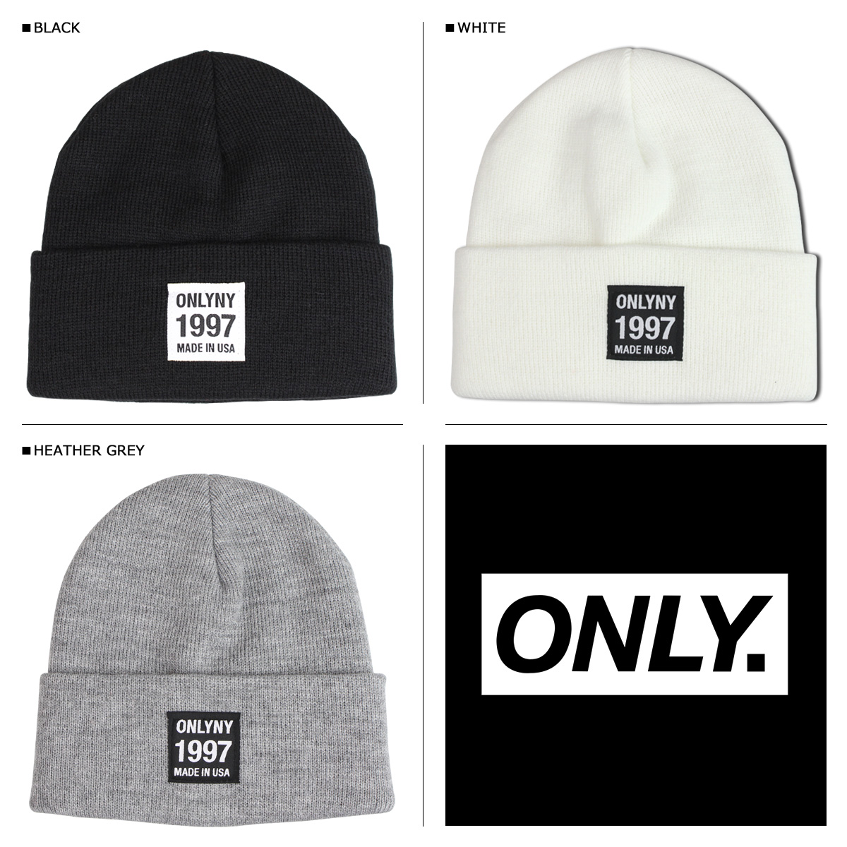 16b84e7fc1b ONLY NY New York only men s knit hat Beanie knit Cap 3 color TRANSFER BEANIE   12   10 new in stock