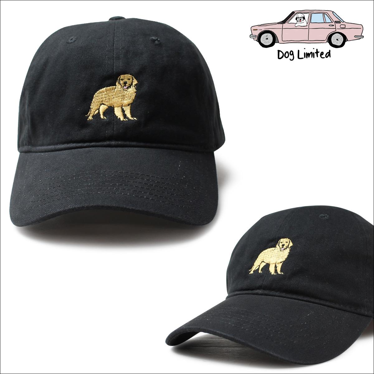 Dog limited hat men gap Dis cap Dog Limited ダッドキャップストラップバック GOLDEN RETRIEVR DAD CAP black