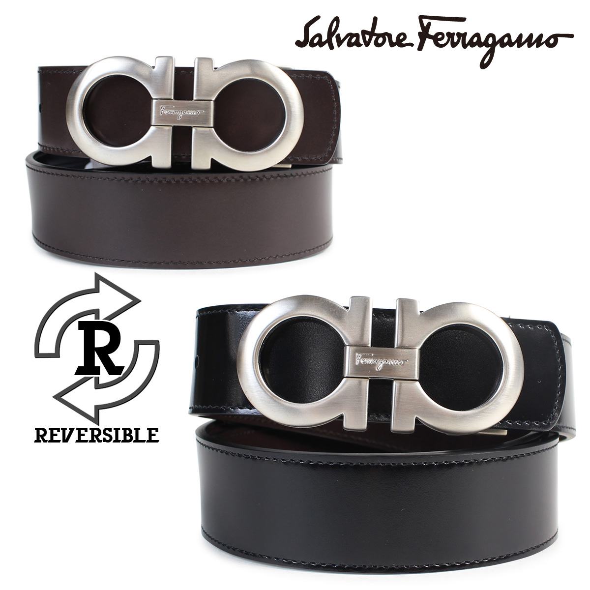 Real Ferragamo Belt >> Ferragamo Belt Men Genuine Leather Salvatore Ferragamo リバーシブルサルヴァトーレビジネス Wedding Ceremony 3 6 Shinnyu Load