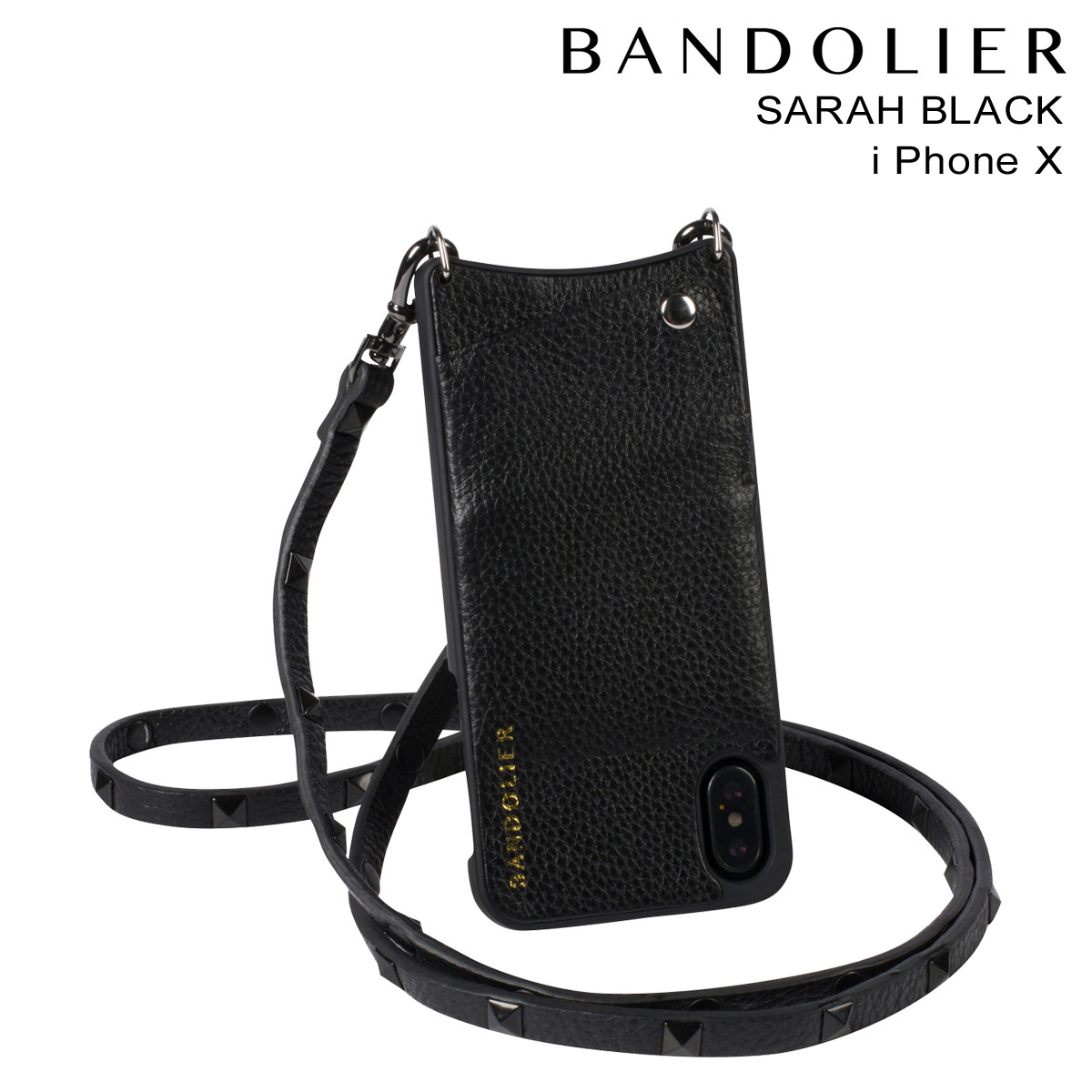 BANDOLIER SARAH BLACK バンドリヤー iPhoneX ケース スマホ アイフォン レザー メンズ レディース [191]