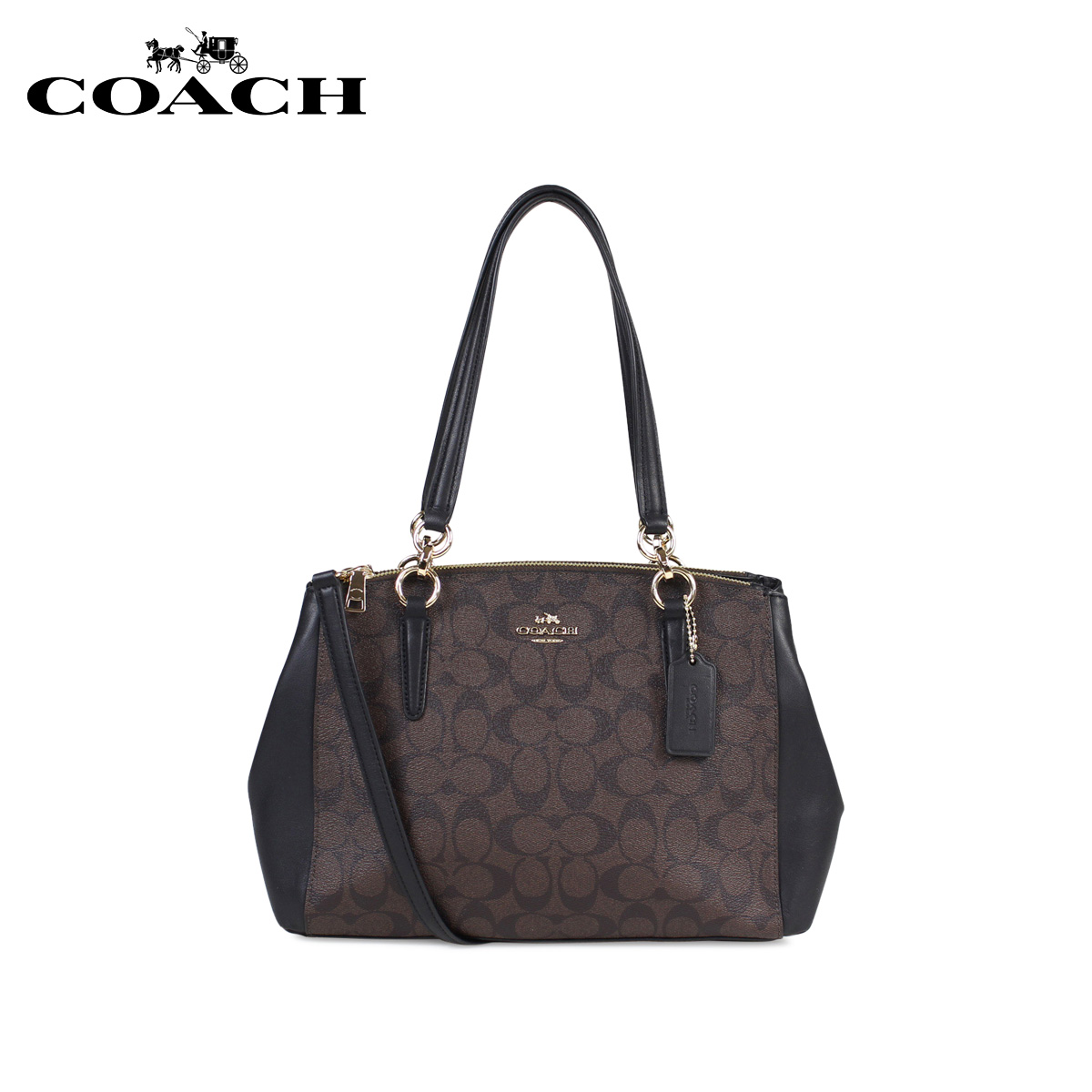 62c0619c54565 COACH SMALL CHRISTIE CARRYALL IN SIGNATURE coach bag tote bag shoulder bag  Lady s F58291 brown  11 13 Shinnyu load   1711